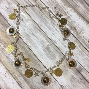 Celestial Silver and gold charm necklace